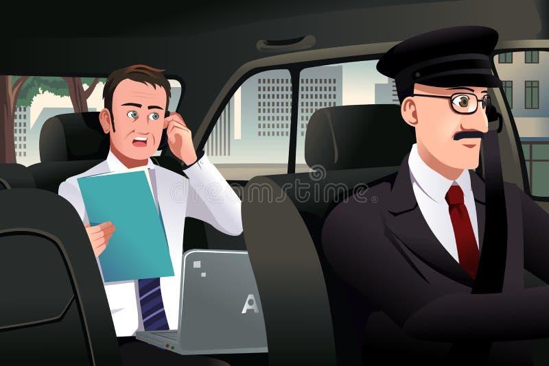 Zakenman die op de telefoon in een auto spreken vector illustratie