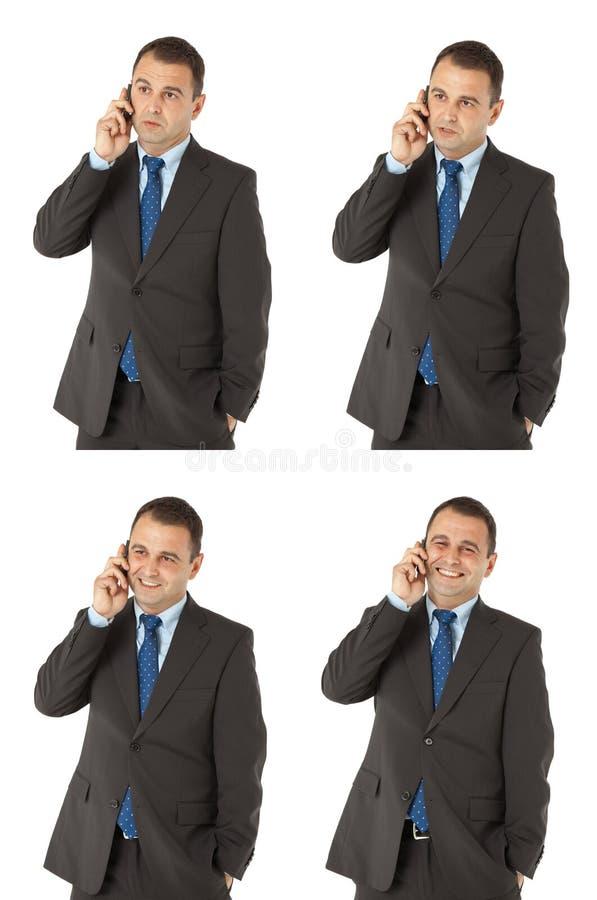 Zakenman die op de telefoon spreekt stock afbeeldingen