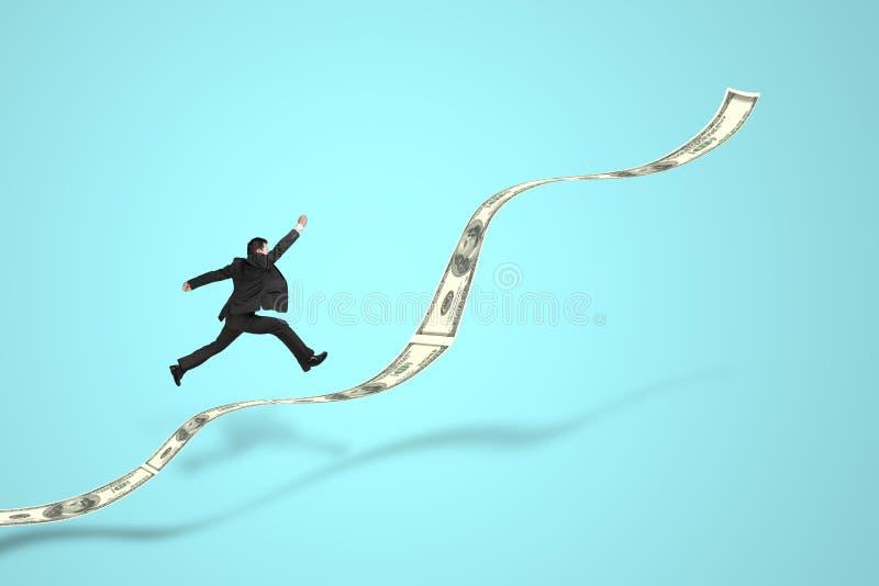 Zakenman die op de tendens van het de groeigeld springt vector illustratie