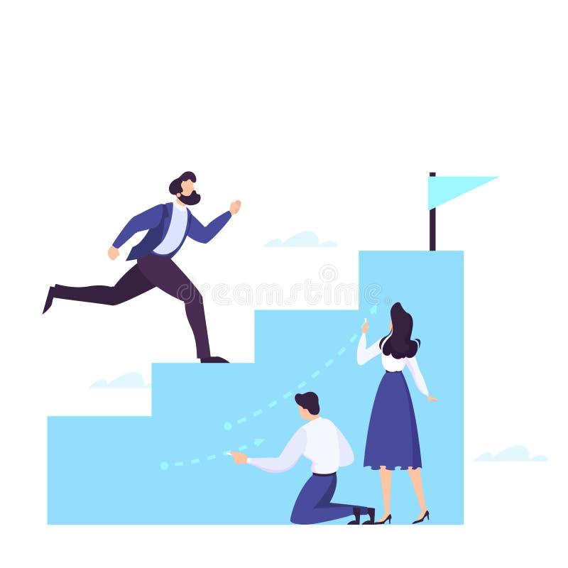 Zakenman die op de treden aan succes en carrière beklimmen vector illustratie