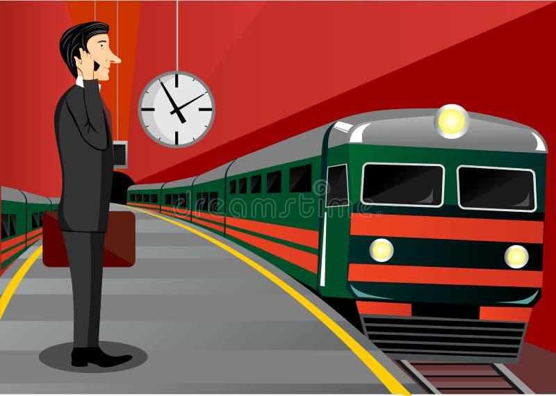 Zakenman die op de trein wachten stock illustratie