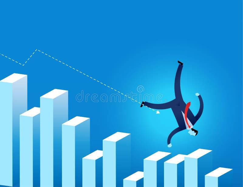 Zakenman die op financiële grafiek met pijl vallen die neer neigen vector illustratie