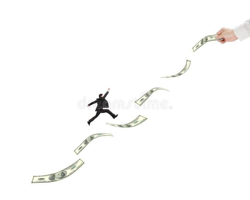 Zakenman die op geld met een andere mensengreep springen royalty-vrije illustratie