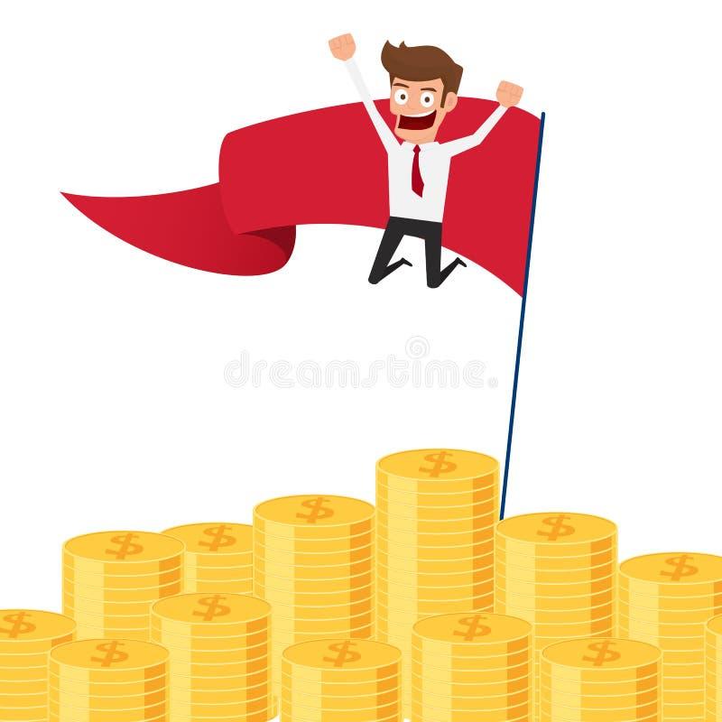 Zakenman die op geldstapel en rode vlag springen Investering en besparingsconcept Stijgend kapitaal en winsten Rijkdom en bespari royalty-vrije illustratie