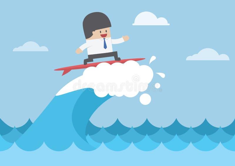 Zakenman die op golf, Bedrijfsconcept surfen vector illustratie