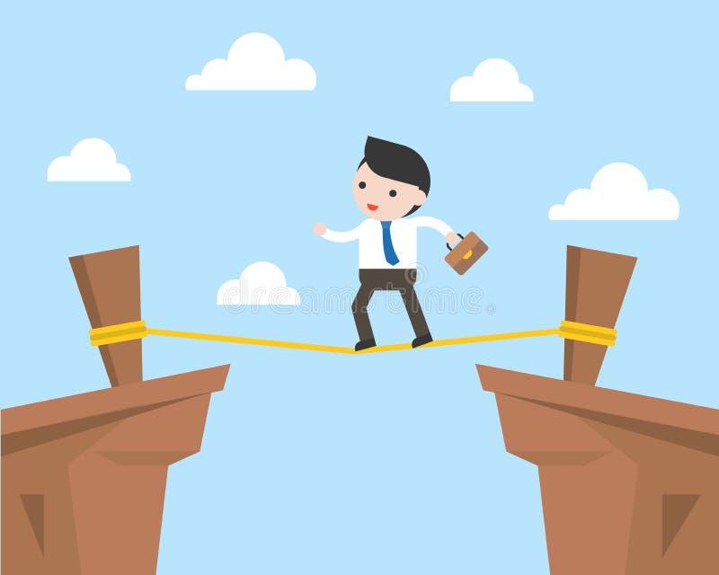 Zakenman die op kabel over klip, risicobeheer lopen concep royalty-vrije illustratie