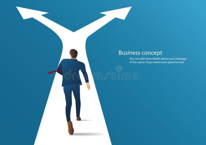 Zakenman die op kruispunten lopen en keusvector maken Bedrijfs conceptenillustratie royalty-vrije illustratie