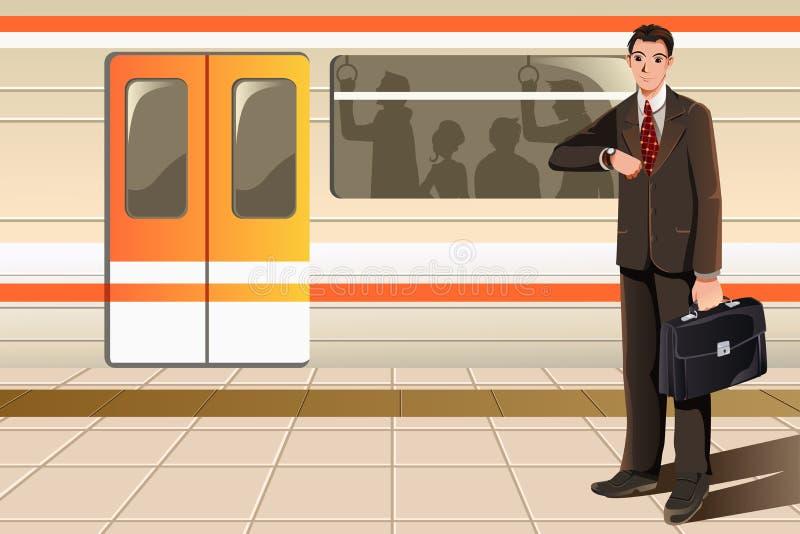 Zakenman die op metro wacht vector illustratie