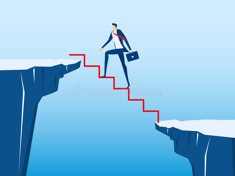 Zakenman die op trede door het hiaat tussen heuvel lopen te kruisen Tredestap aan succes Bedrijfsrisico en succesconcept vector illustratie