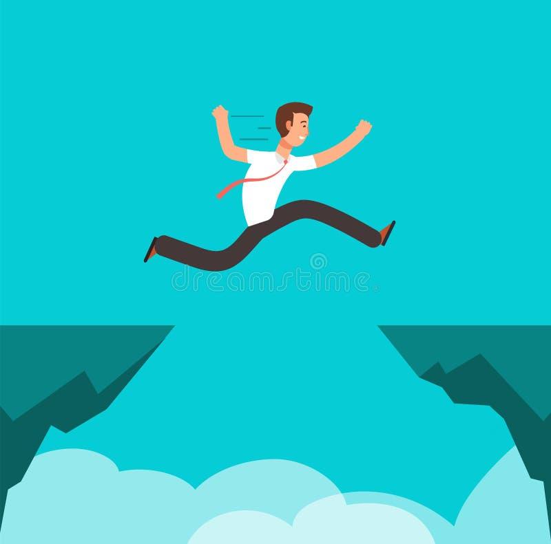 Zakenman die over canion springen Bedrijfsuitdaging, het succesvolle overwinnen en concept van het risico het vectorbeeldverhaal vector illustratie