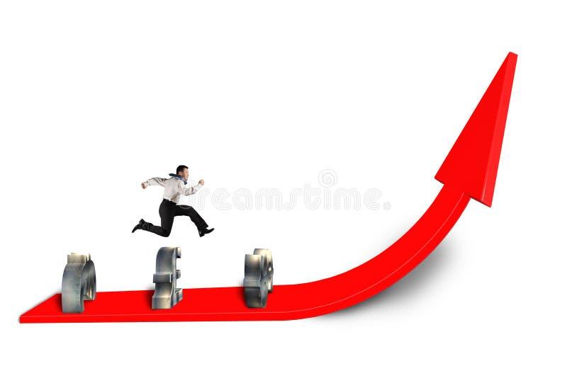 Zakenman die over geldsymbool springt bij het kweken van rode pijl vector illustratie