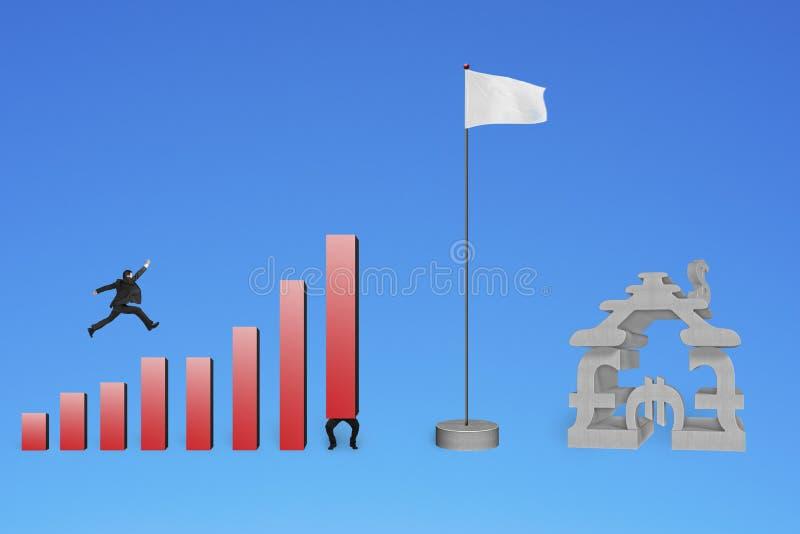 Zakenman die over grafieken aan vlag met munthuis springen royalty-vrije stock foto