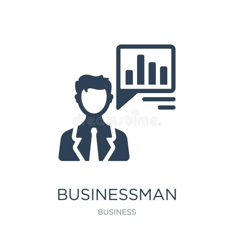 zakenman die over het pictogram van de gegevensanalyse in in ontwerpstijl spreken zakenman die over geïsoleerde het pictogram spr royalty-vrije illustratie
