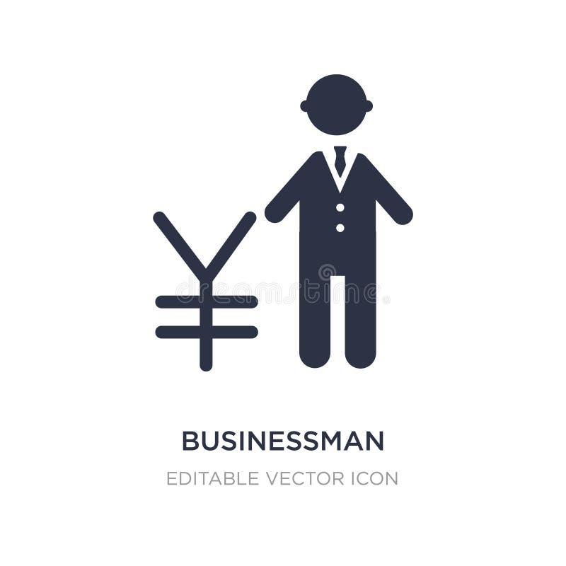 zakenman die over Yenpictogram spreken op witte achtergrond Eenvoudige elementenillustratie van Mensenconcept royalty-vrije illustratie