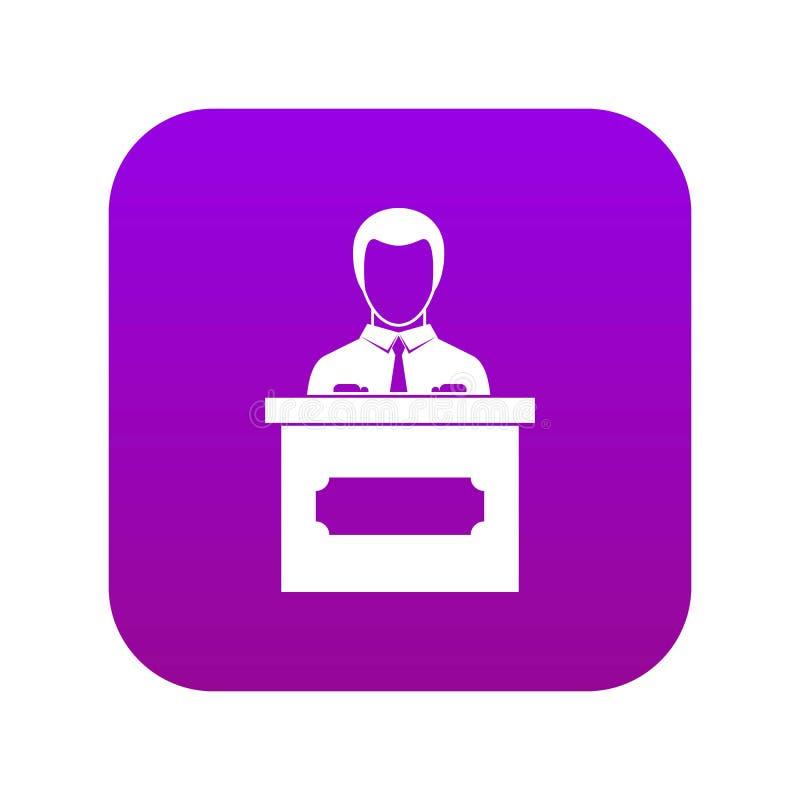 Zakenman die presentatiepictogram digitale purple geven vector illustratie