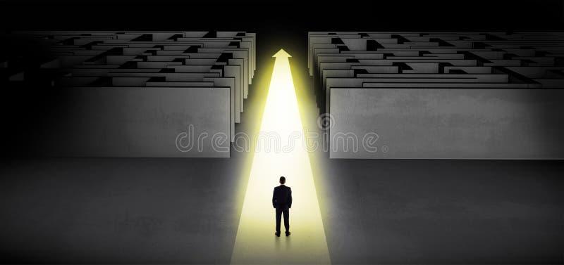 Zakenman die rechtstreeks tussen twee labyrinten doorgaan vector illustratie