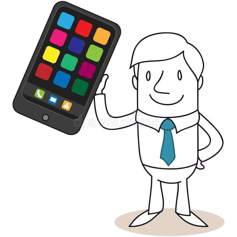 Zakenman die reusachtige smartphone steunen royalty-vrije illustratie