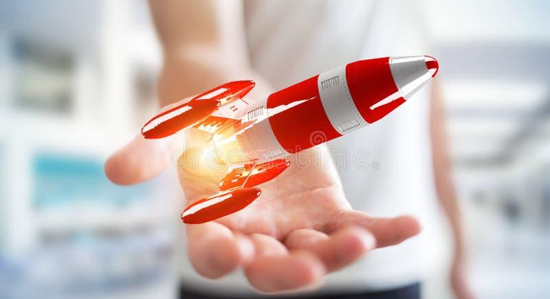 Zakenman die rode raket in zijn hand het 3D teruggeven houden stock illustratie