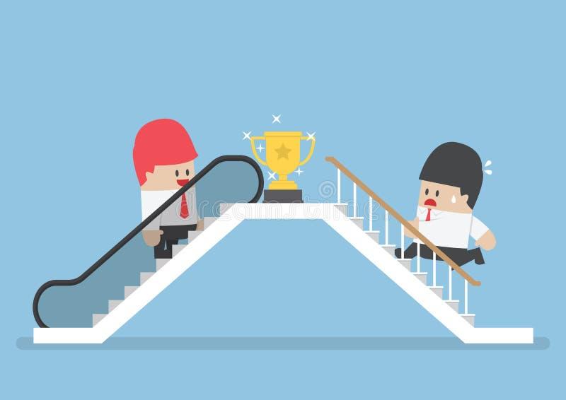 Zakenman die roltrap gebruiken aan succes en zijn het rivaliserende beklimmen stock illustratie