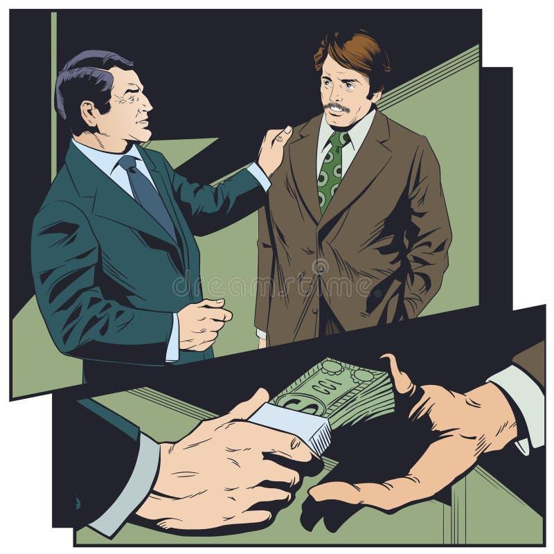 Zakenman die steekpenning nemen Geld van hand aan hand stock illustratie
