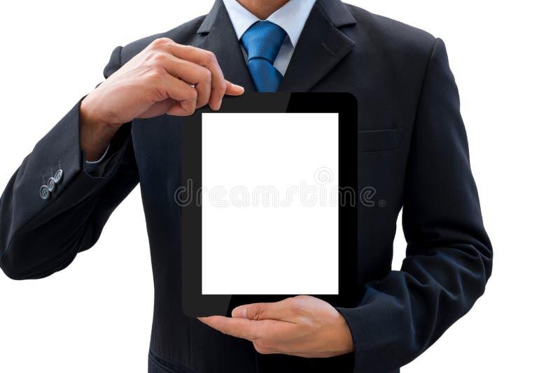 Zakenman die tablet voor presentatie gebruiken royalty-vrije stock fotografie