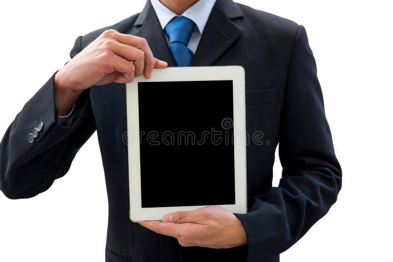 Zakenman die tablet voor presentatie gebruiken royalty-vrije stock afbeeldingen