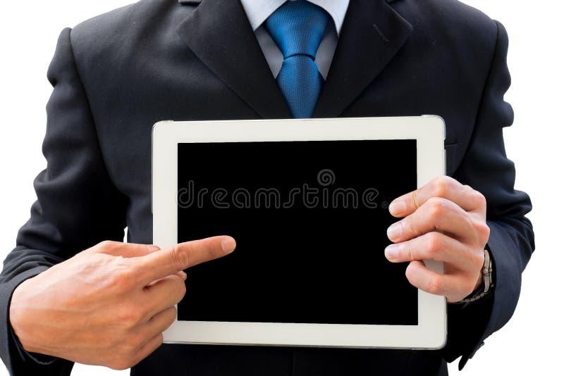Zakenman die tablet voor presentatie gebruiken stock foto