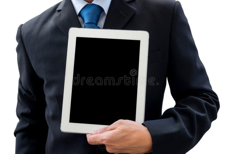Zakenman die tablet voor presentatie gebruiken stock foto's