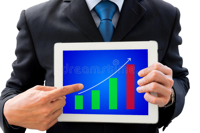 Zakenman die tablet voor presentatie gebruiken royalty-vrije stock foto