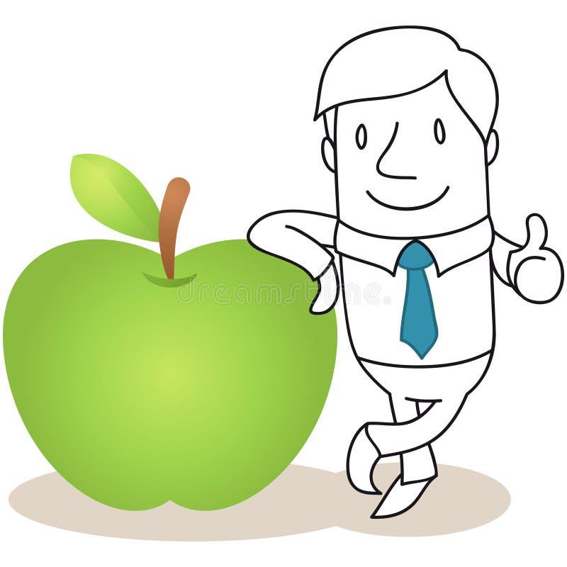 Zakenman die tegen appel leunen vector illustratie