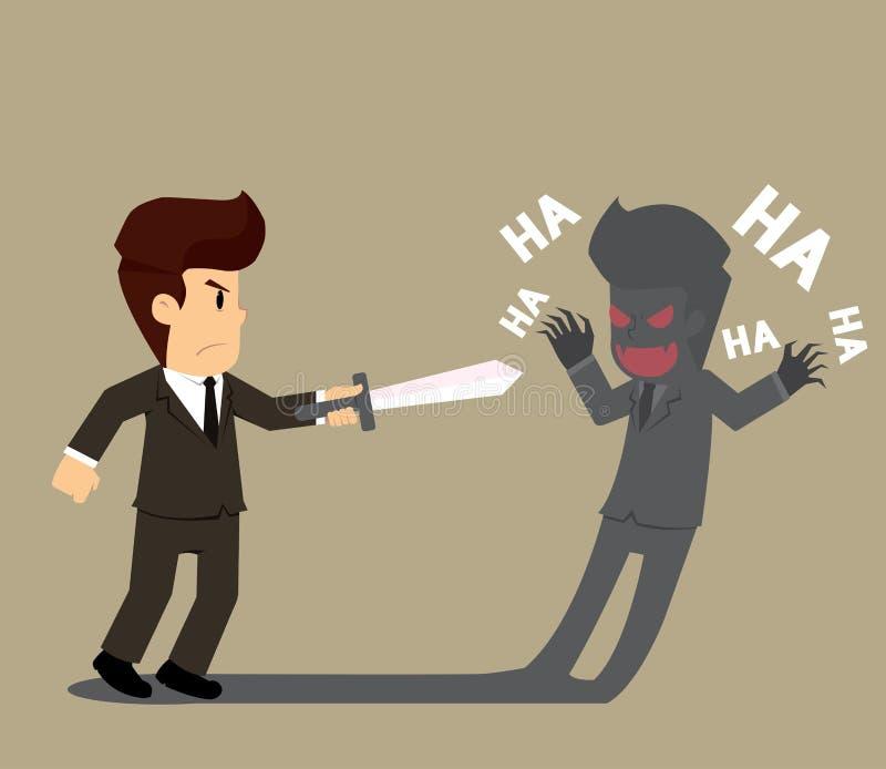 Zakenman die tegen zijn eigen schaduw, zijn kwaad vechten vector illustratie