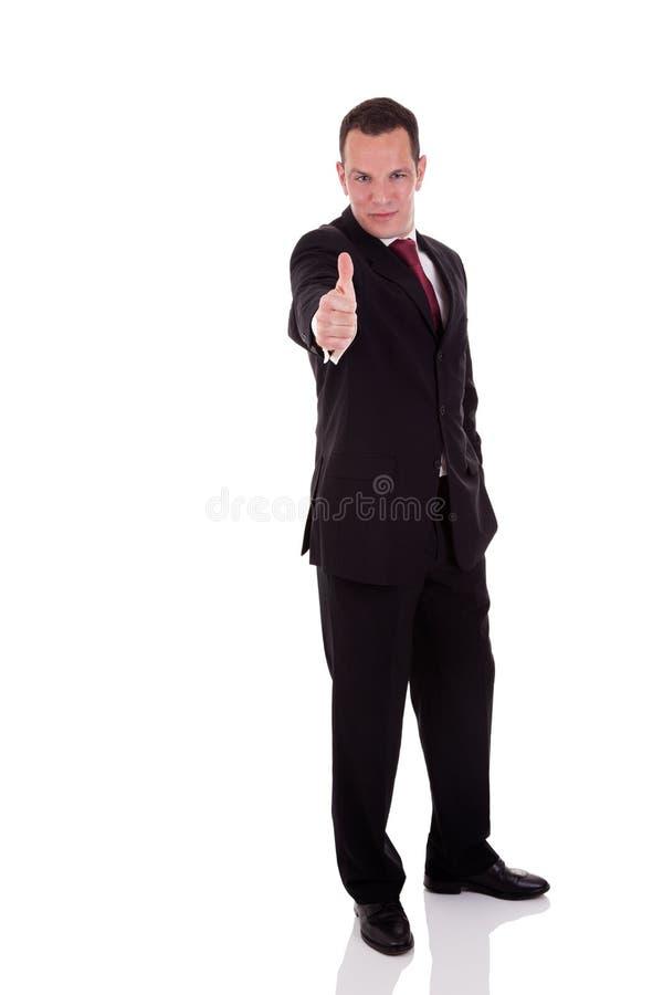 Zakenman die toestemming, met omhoog duim geeft royalty-vrije stock afbeeldingen