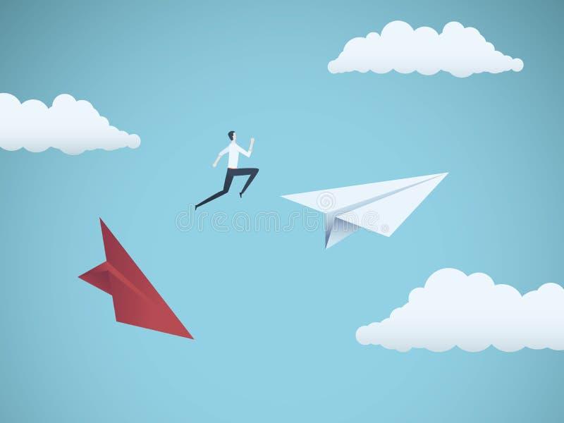 Zakenman die tussen document vliegtuigen springen Bedrijfssymbool of metafoor voor risico, gevaar, verandering, vlucht of faillis vector illustratie