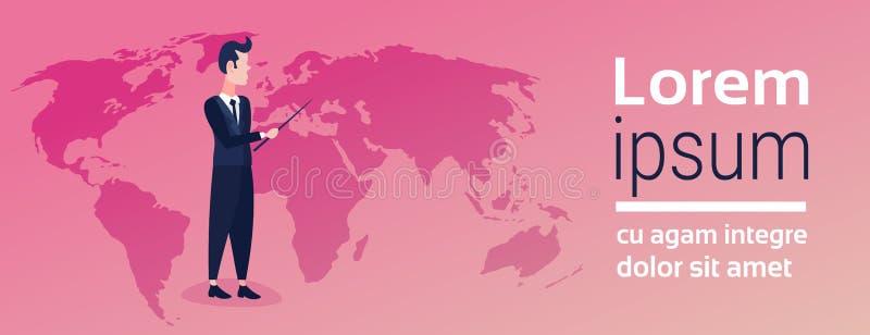 Zakenman die van de de bedrijfs plaatsplaatsing van de wereldkaart de geografische globale voorstellende mens van het globaliseri vector illustratie