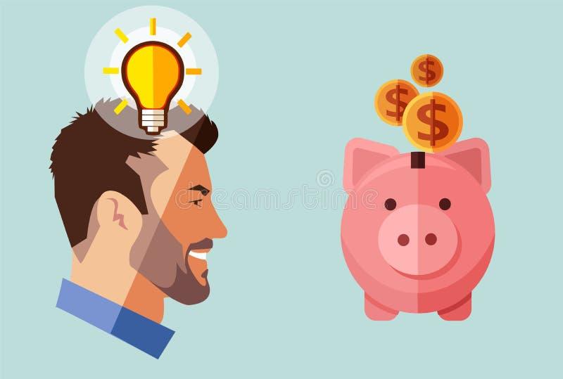 Zakenman die van de Hipsterbaard met idee spaarvarken met geld de kijken Pen, oogglazen en grafieken stock illustratie