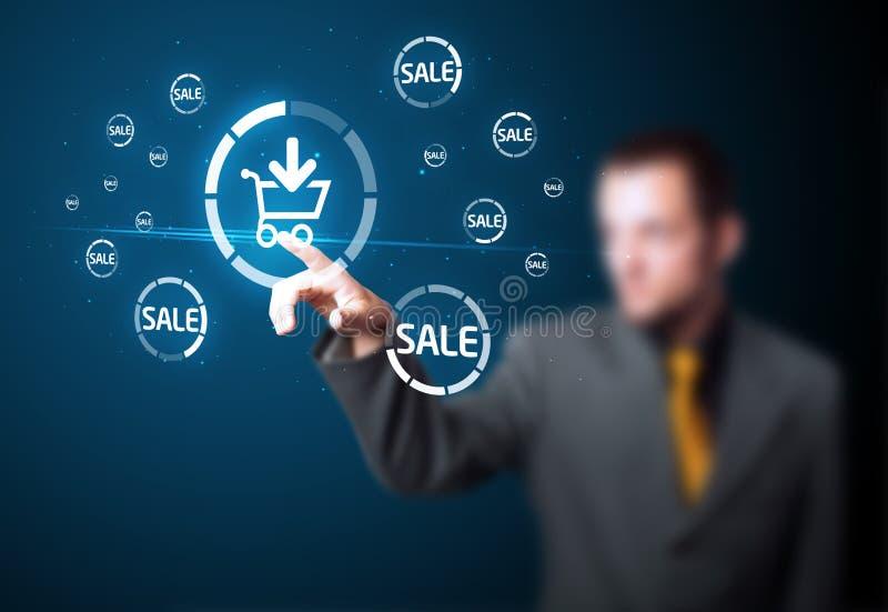 Zakenman die virtuele bevordering drukt royalty-vrije stock afbeelding
