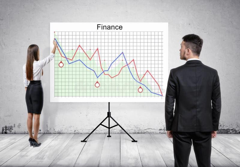 Zakenman die vrouw bekijken, die presentatie op tablet met financiëngrafieken geven stock foto