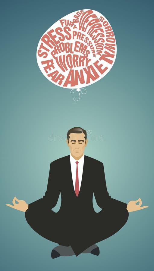 Zakenman die yoga doet meditatie Het ontspannen en het laten van de moeilijkheden gaan royalty-vrije illustratie