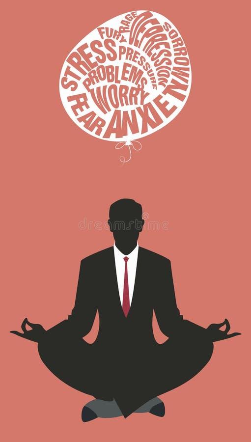 Zakenman die yoga doet meditatie Het ontspannen en het laten van de moeilijkheden gaan stock illustratie