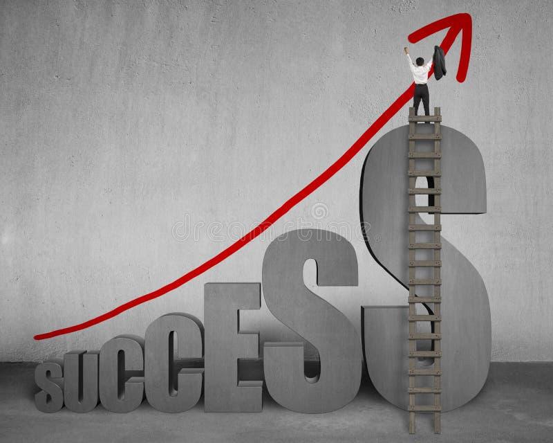 Zakenman die zich bovenop succes met ladder, het groeien arro bevinden stock illustratie