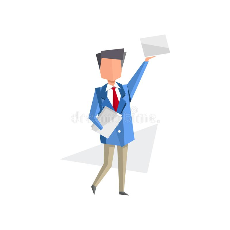 Zakenman die zich met documenten in zijn handen bevinden, administratie, bureaucratie, de routinevector van het bedrijfsconcepten vector illustratie