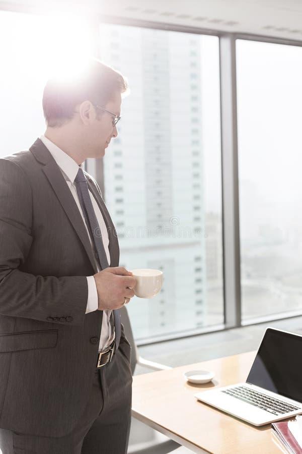 Zakenman die zich met koffiekop bevinden die laptop op lijst in bestuurskamer bekijken stock fotografie