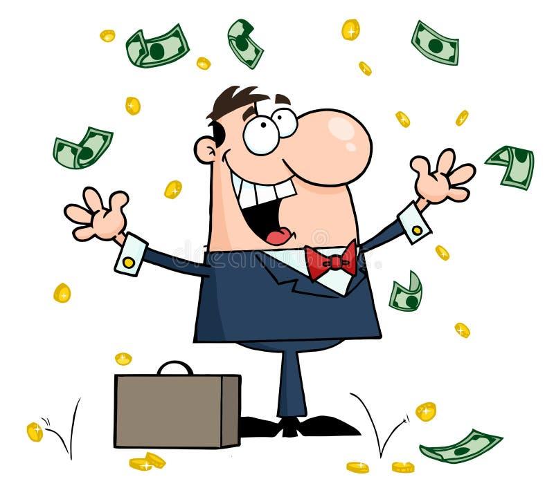 Zakenman die zich onder dalend geld bevindt vector illustratie
