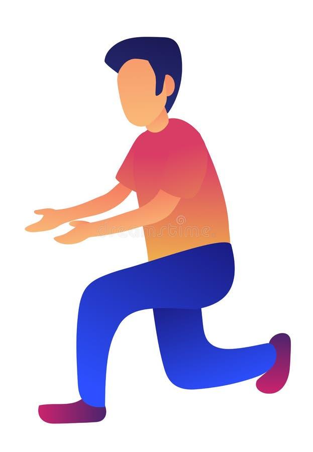 Zakenman die zich op één knie vectorillustratie bevinden stock illustratie