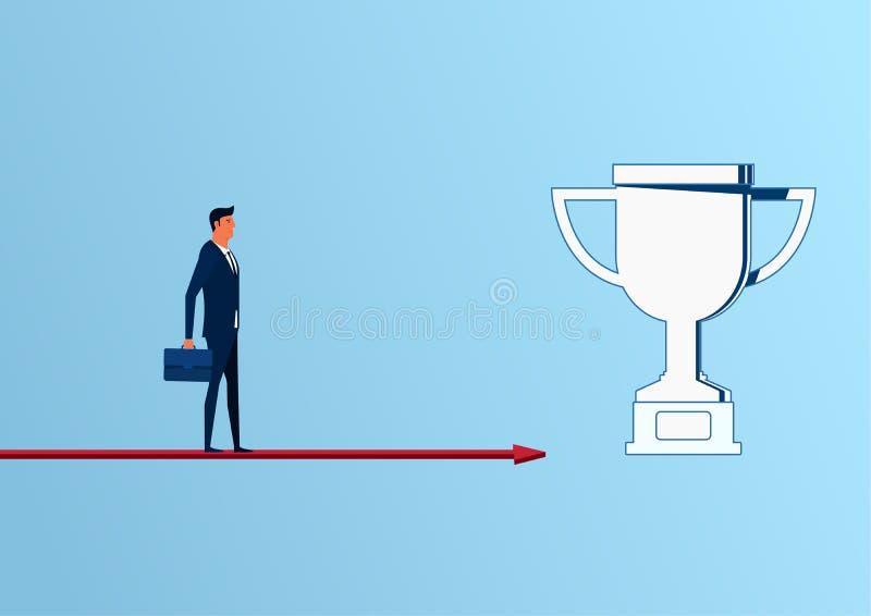 Zakenman die zich op de benadering van de pijlgrafiek van trofee en succes, kansen, toekomstige bedrijfstendensen bevinden royalty-vrije illustratie