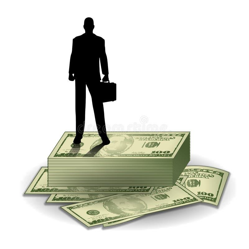 Zakenman die zich op Geld bevindt vector illustratie