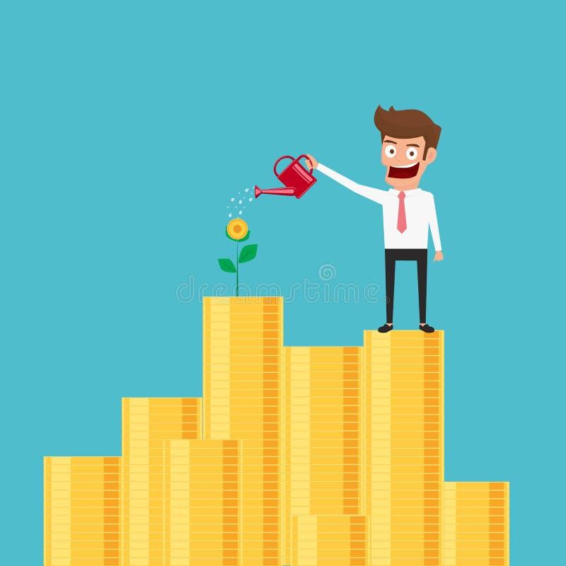 Zakenman die zich op geldstapel en het water geven geldboom bevinden De geldgroei, die geld, investering, financieel concept make royalty-vrije illustratie