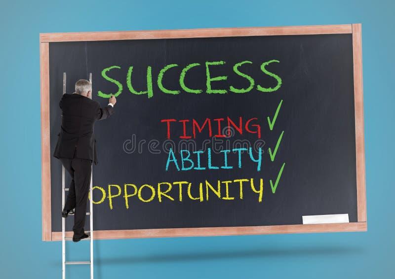Zakenman die zich op het ladder en het schrijven succesconcept bevinden op bord royalty-vrije stock foto