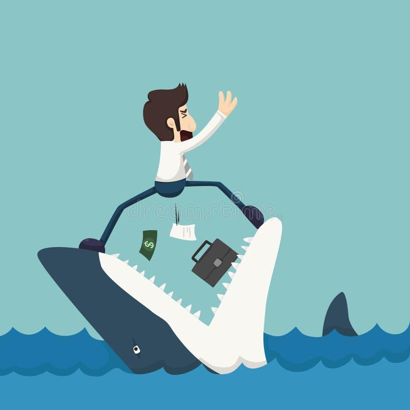 Zakenman die zich op Kaken van haai bevinden royalty-vrije illustratie