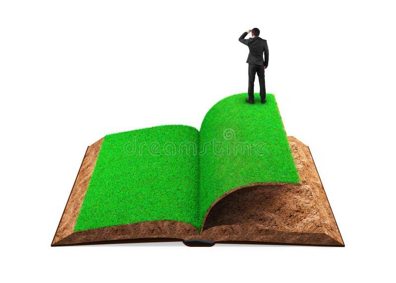 Zakenman die zich op open boek van gras en grondtextuur bevinden vector illustratie